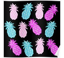 Pineapple Bright pink and aqua Poster
