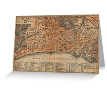 Vintage Map of Nice France (1914) Greeting Card