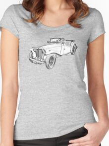 MG Convertible Antique Car Illustration Women's Fitted Scoop T-Shirt