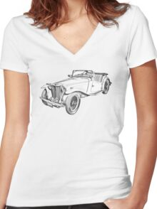 MG Convertible Antique Car Illustration Women's Fitted V-Neck T-Shirt