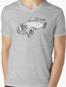 MG Convertible Antique Car Illustration Mens V-Neck T-Shirt