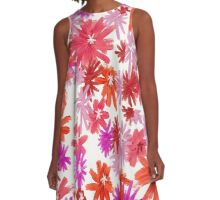 red and pink daisies A-Line Dress