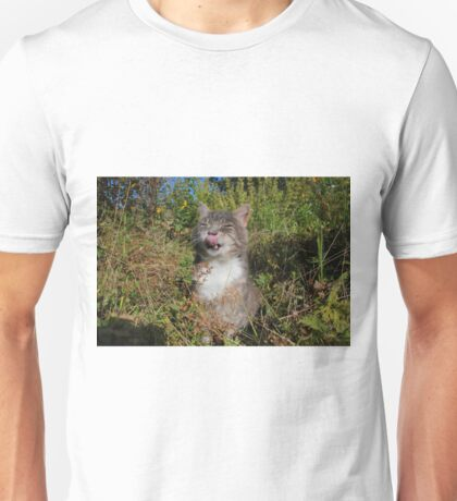 Tabby cat licking lips in garden Unisex T-Shirt