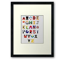 marvel superhero alphabet Framed Print