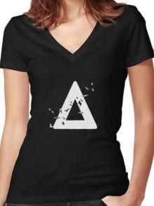Bastille Birds Triangle White Women's Fitted V-Neck T-Shirt