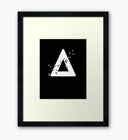 Bastille Birds Triangle White Framed Print