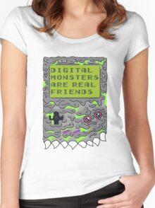 Digital Monsters Are Real Friends! Women's Fitted Scoop T-Shirt