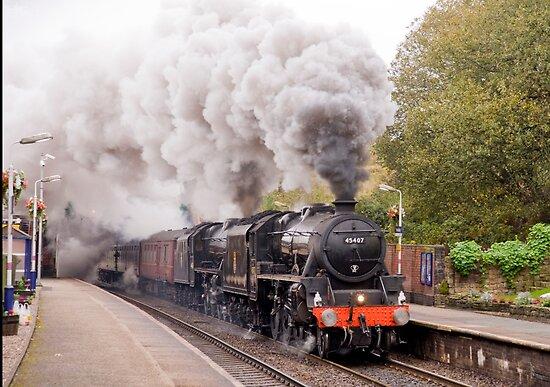 "Double headed Stanier ""Black Five"" locomotives thunder through Hindley station by John Morris"