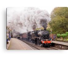 "Double headed Stanier ""Black Five"" locomotives thunder through Hindley station Canvas Print"