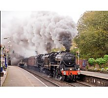 "Double headed Stanier ""Black Five"" locomotives thunder through Hindley station Photographic Print"