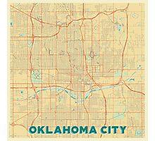 Oklahoma City Map Retro Photographic Print