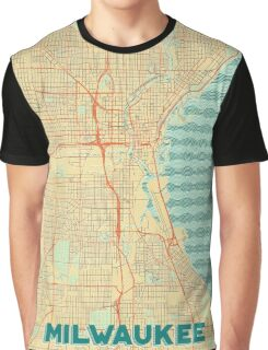Milwaukee Map Retro Graphic T-Shirt