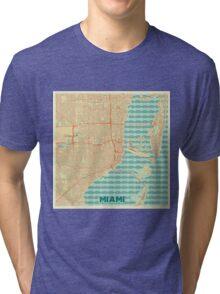 Miami Map Retro Tri-blend T-Shirt