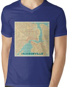 Jacksonville Map Retro Mens V-Neck T-Shirt