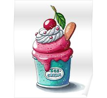 Cherry ice cream cup Poster
