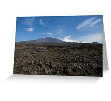 Etna Did This - the Lava Fields and the Volcano  Greeting Card
