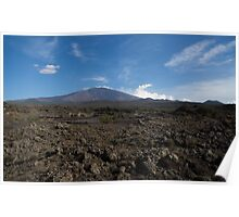 Etna Did This - the Lava Fields and the Volcano  Poster