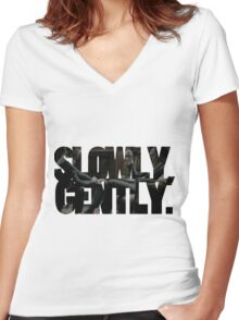 Slowly, gently Women's Fitted V-Neck T-Shirt