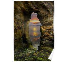Perranporth Keyhole Sunset, Cornwall, UK ~ Atlantic Coast Poster