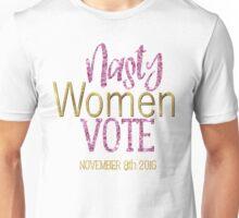 Nasty Women Vote Debate Hillary Clinton Donald Trump Retro Election 2016 Faux Gold Foil Pink Glitter Unisex T-Shirt