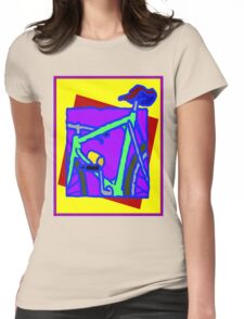 BICYCLE ABSTRACT; Whimsical Print Womens Fitted T-Shirt
