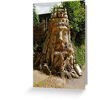 Dead Tree Carving of Neptune Sea God Greeting Card