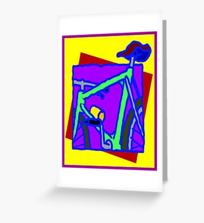 BICYCLE ABSTRACT; Whimsical Print Greeting Card