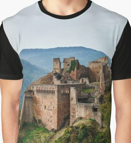 Majestic medieval castle  Saint-Ulrich on the top of the hill, Alsace, France Graphic T-Shirt