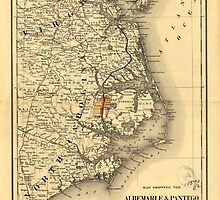 Vintage Map of The North Carolina Coast (1887) by BravuraMedia