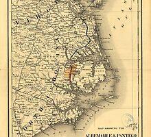 Vintage Map of The North Carolina Coast (1887) by BravuraMedia