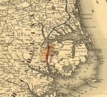 Vintage Map of The North Carolina Coast (1887) Sticker