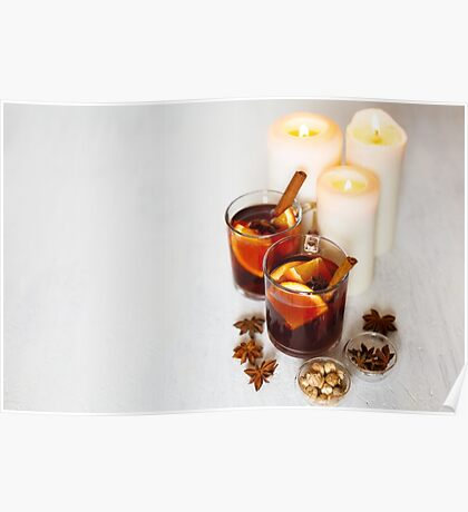 Christmas decoration with mulled wine Poster