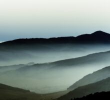 Beautiful mountains landscape from the top of the hill with fog, Alsace, France Sticker