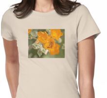 Honey Bee With Yellow Orange Flowers Womens Fitted T-Shirt