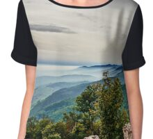 Beautiful mountains landscape from the top of the hill with fog, Alsace, France Chiffon Top