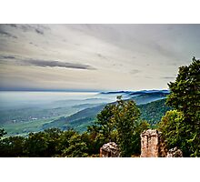 Beautiful mountains landscape from the top of the hill with fog, Alsace, France Photographic Print