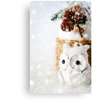 Snow Christmas decoration with fairy white reading owl Canvas Print