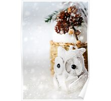 Snow Christmas decoration with fairy white reading owl Poster