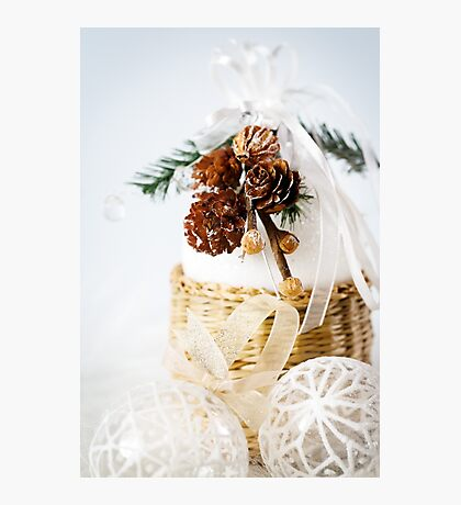 Decoration with snowy cones and white baubles Photographic Print