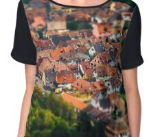 Aerial panoramic tilt-shift view to village Ribeauville from drone, Alsace, France Chiffon Top