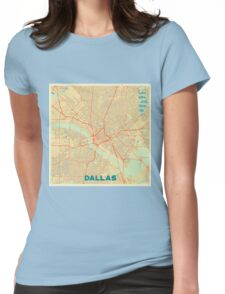 Dallas Map Retro Womens Fitted T-Shirt