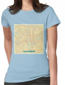 Columbus Map Retro Womens Fitted T-Shirt