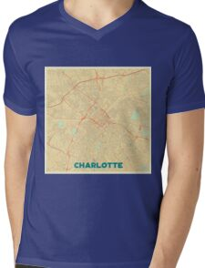 Charlotte Map Retro Mens V-Neck T-Shirt