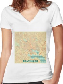 Baltimore Map Retro Women's Fitted V-Neck T-Shirt
