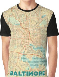 Baltimore Map Retro Graphic T-Shirt