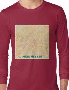 Manchester Map Retro Long Sleeve T-Shirt