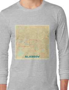 Glasgow Map Retro Long Sleeve T-Shirt