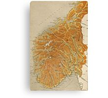 Vintage Map of Norway (1914) Canvas Print