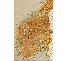 Vintage Map of Norway (1914) Photographic Print