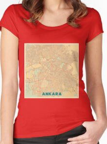 Ankara Map Retro Women's Fitted Scoop T-Shirt